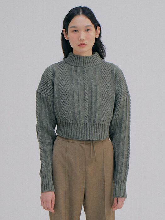 Short Cable Sweater Top_Khaki