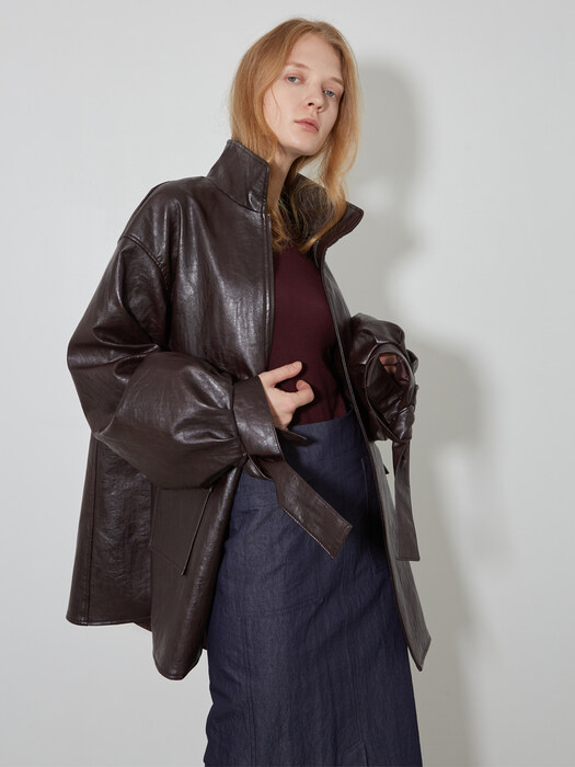 Vegan Leather String Long Jacket_Burgundy