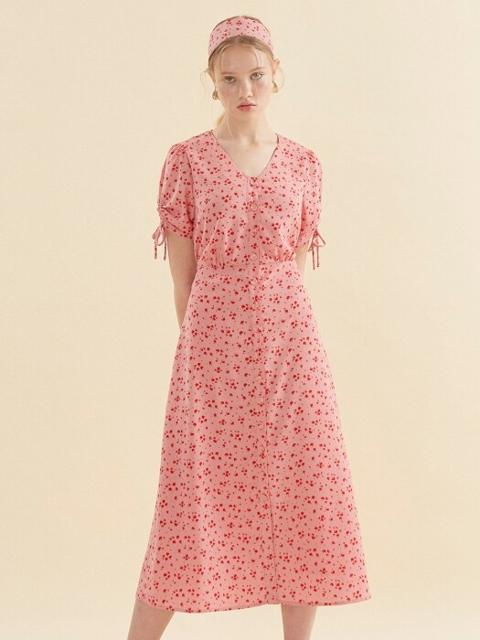 String Sleeve Long Dress_ Pink