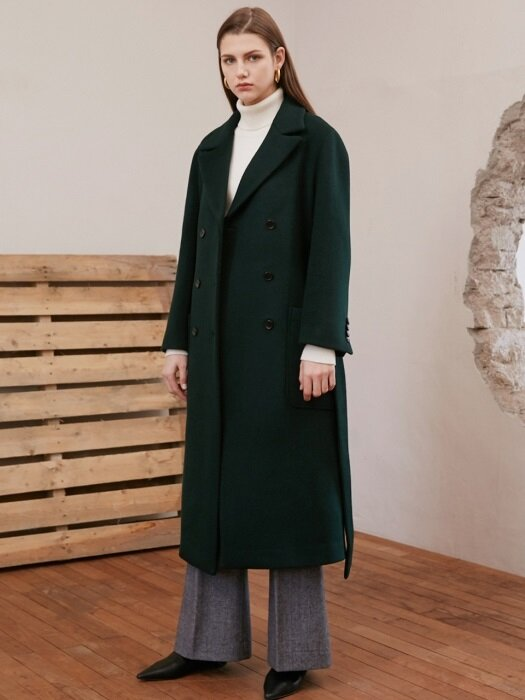 BELTED DOUBLE COAT_DEEP GREEN