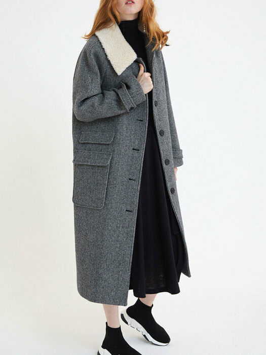 20' Winter_Ecru Shearling Collar Belted Wool Coat
