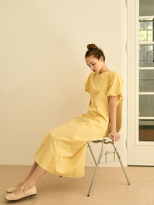 Volume Sleeve Long Dress (Yellow)
