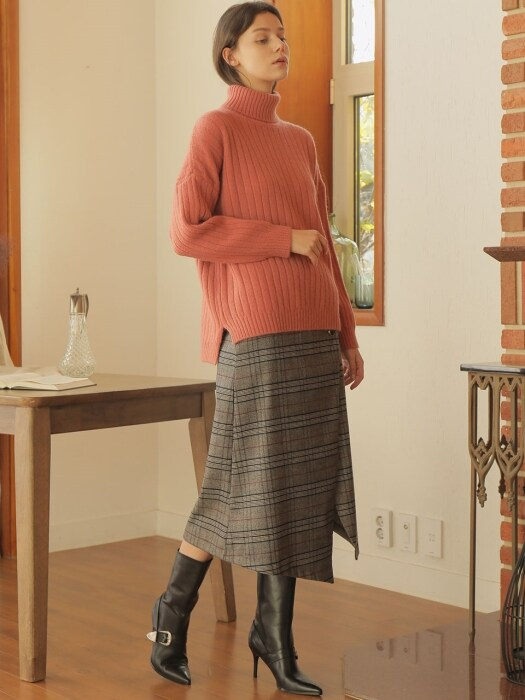 BASIC TURTLENECK WOOL KNIT_PINK
