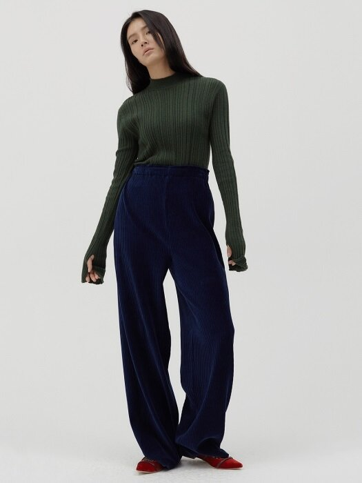 E band-waist Corduroy wide trousers [navy]
