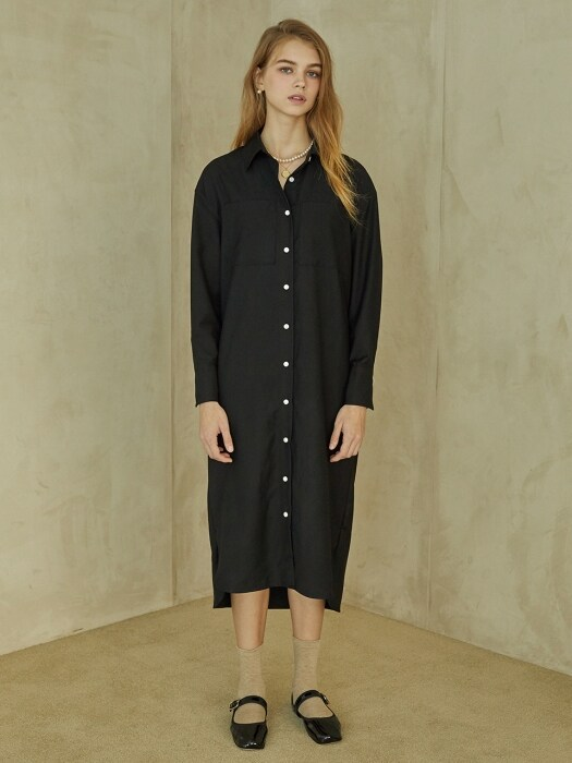 P Pocket Shirt Dress_BK