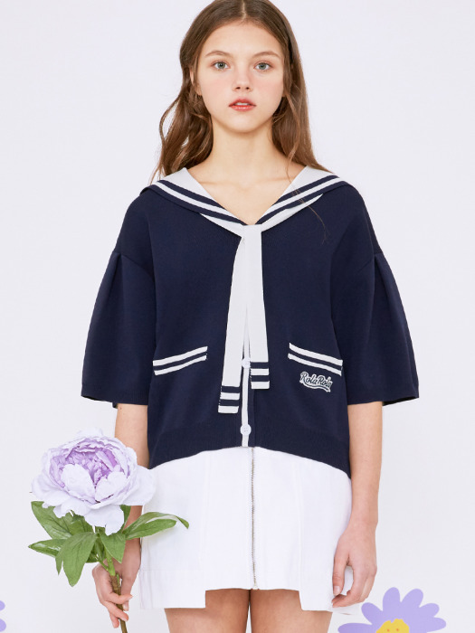 (CD-20331) SAILOR SHORT SLEEVE CARDIGAN NAVY