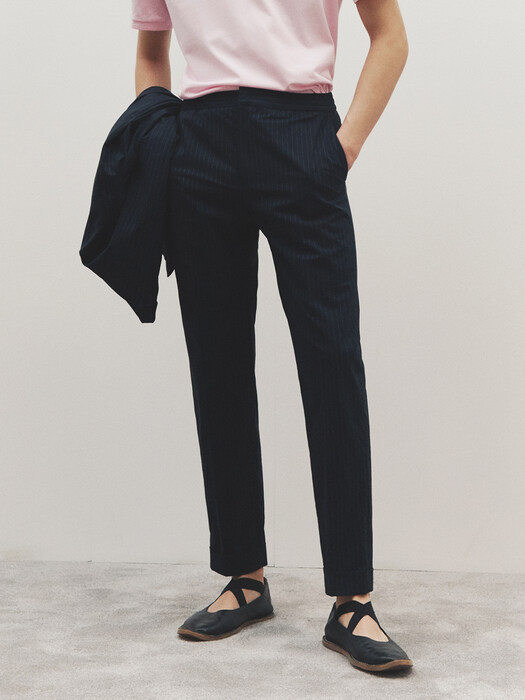 Relax banding Seersucker Trousers_NAVY PIN-STRIPE