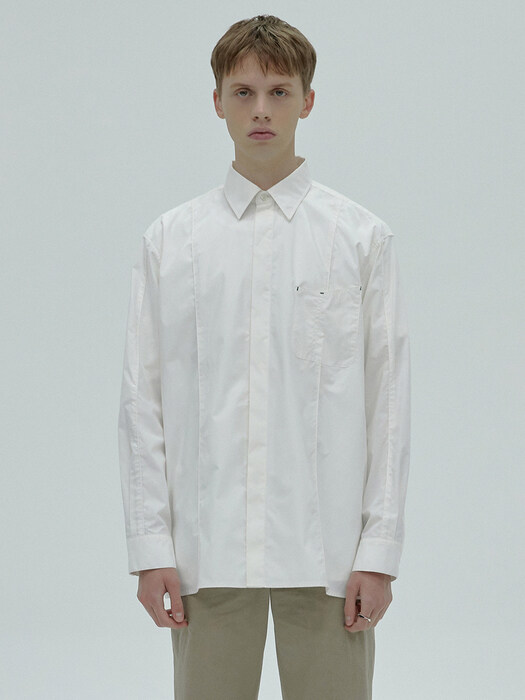 STITCH POCKET SHIRT - WHITE
