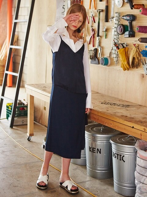 RAYON SILKY WRAP SLIP DRESS_NAVY