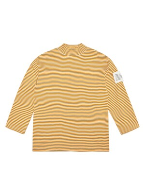 HALF TURTLENECK STRIPE TEE (MUSTARD)