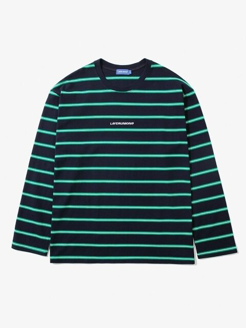 DOUBLE STRIPE L/S TEE NAVY