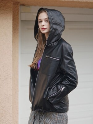 LAMB SKIN HOOD ZIP-UP BLACK