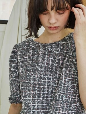 Tweed Cap Sleeve Top_Gray