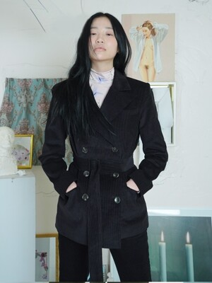 BELTED CORDUROY JACKET [BLACK]