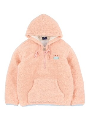 (누빔) FLEECE HALF ZIP UP HOODIE (PINK)