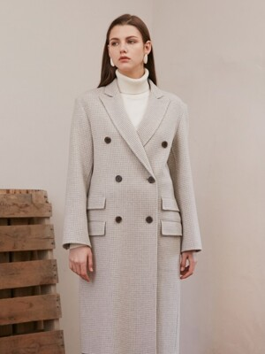 HOUNDS TOOTH DOUBLE COAT_IVORY CHECK