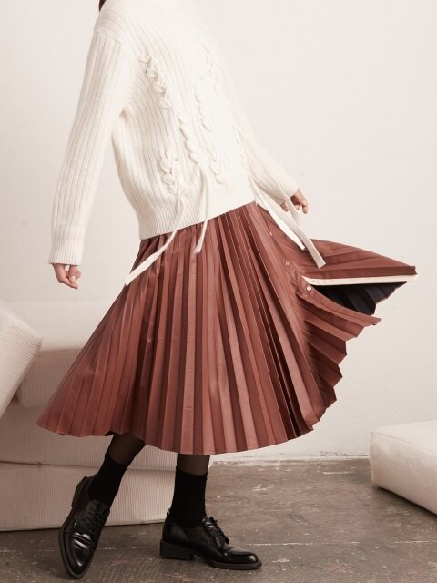 Open Pleated Leather Skirt- Marsala