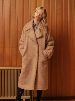 OVERFIT TEDDY BEAR COAT_BROWN