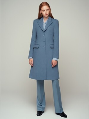 CASHMERE BLENDED WOOL CLASSIC COAT - SKY