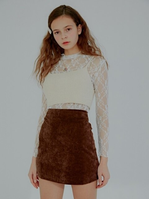 Edma Velvet Mini Skirt_Dark Brown