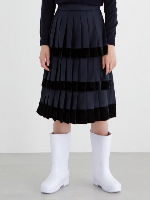 18FW VELVET PLEATS SKIRT (NAVY)