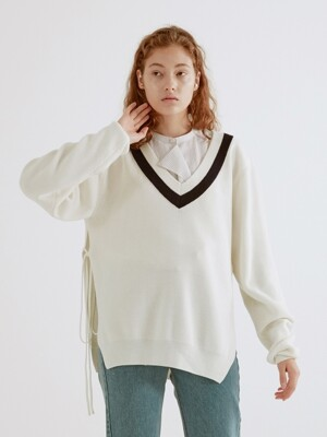19SS TWO-TONE OPEN-SIDE KNIT TOP (CREAM)