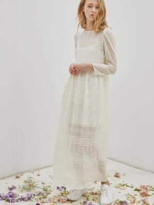 See-Through Lace Long Dress_Ivory