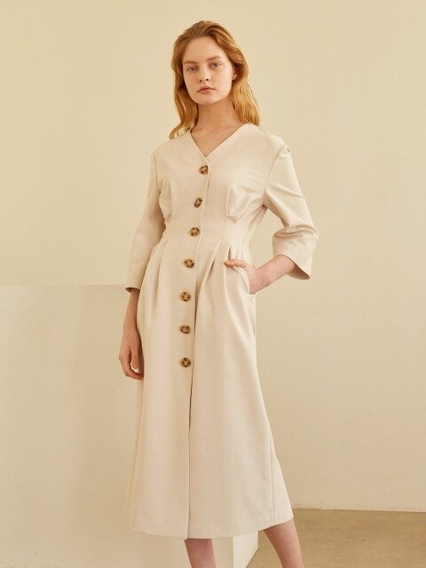19SS V-NECK VOLUME DRESS IVORY