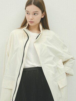 CREAM leather collar oversize M65 coat(IJ011)