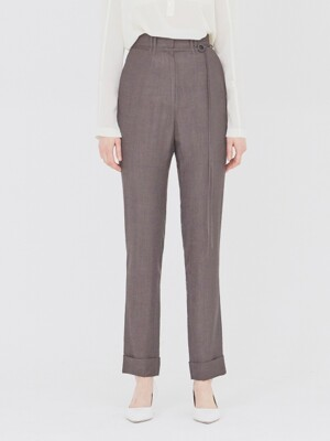 19SS STRAIGHT-FIT CUFFED TROUSERS DARK BROWN
