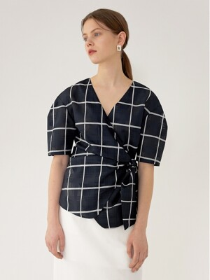 CHLOE Volume Sleeve Blouse(NAVY CHECK)