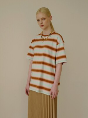 UNISEX GRADATION STRIPE T-SHIRT atb315u(BROWN/PALE JADE/PEACH PINK)