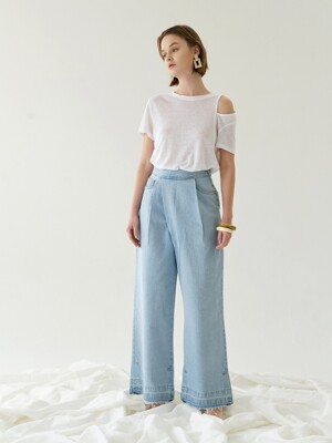 DENIM PLEATS TUCK WIDE WRAP PANTS