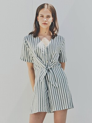 BROOKLYN KISS JUMPSUIT (KHAKI STRIPE)