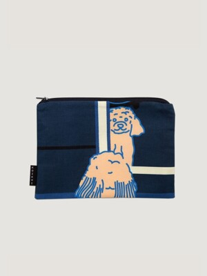 Doggie in the mirror small pouch - Navy