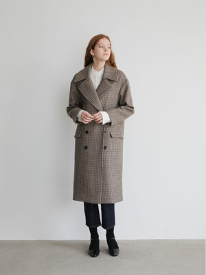 19' FALL_Check Double-Breasted Wool-Blend Coat