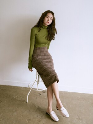 [SET]R BASIC POLA OLIVE+FIF BACK SLIT SKIRT CHECK