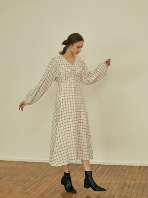 Charming check shirring dress[ivory]