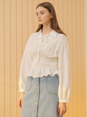 WAIST SMOCKING BLOUSE_WHITE