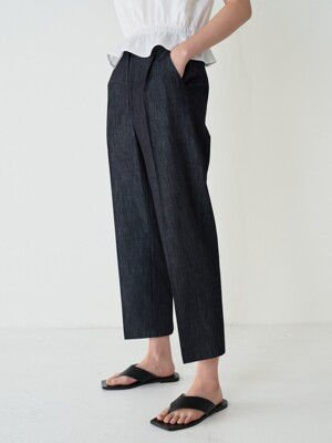 20SR DENIM TAPERED TUCK PANTS (INDIGO)
