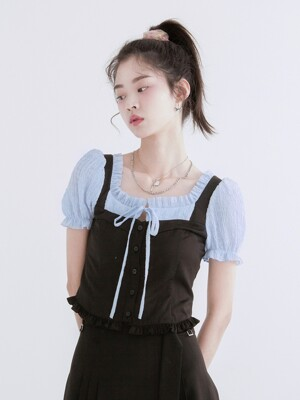 Bustier puff blouse (Blue)