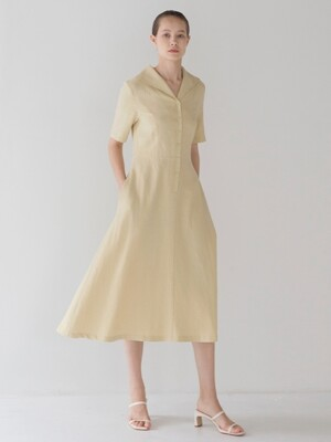 Collar Shirring Dress - Butter Yellow