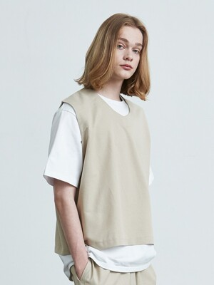 V016 v-neck cotton vest (beige)