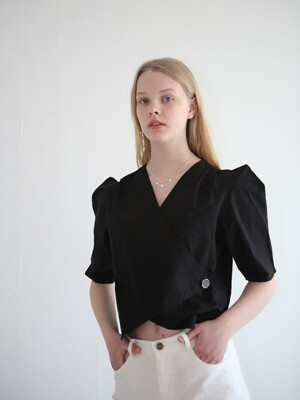 button ribbon lap blouse_black