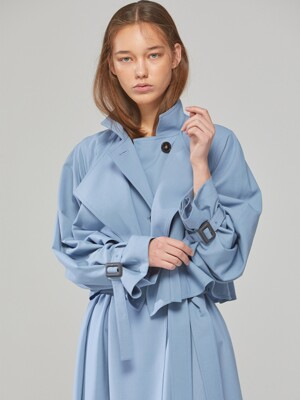 [단독] DEMERE LAYER NECK RAGLAN TRENCH COAT(BLUE, BLACK)