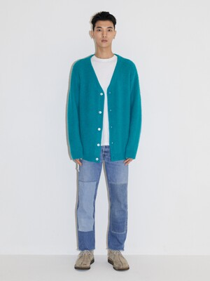 ALPACA CARDIGAN JA [TEAL GREEN]
