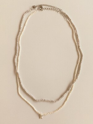 [2 SET] petit initial pearl necklace + slim line pearl necklace