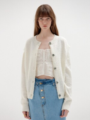 SIENNA Cardigan with Separable Sleeves - Ivory