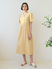 monts 1308 unbalance collar shirring long one-piece (butter yellow)