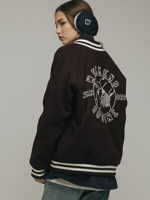 RAGLAN WOOL STADIUM JACKET (BURGUNDY)